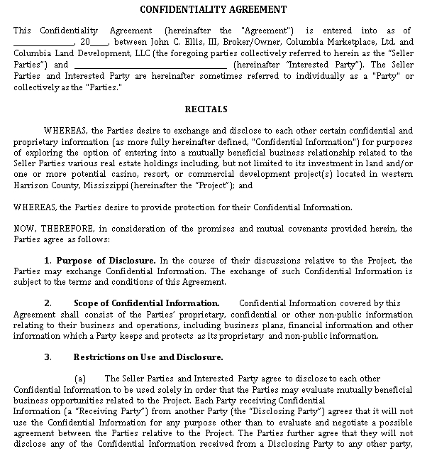 Exclusivity and Confidentiality Agreement