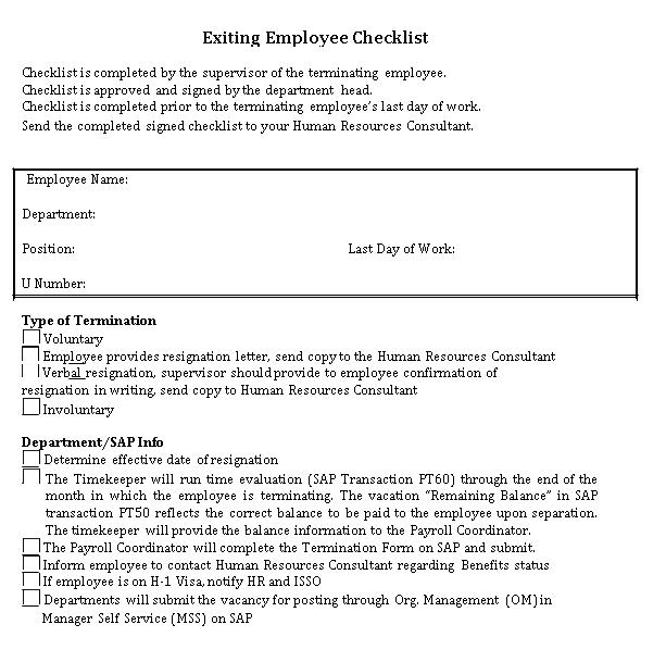 Exiting Checklist PDF Format