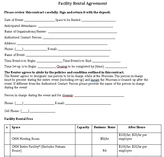 Facility Rental Agreement Form