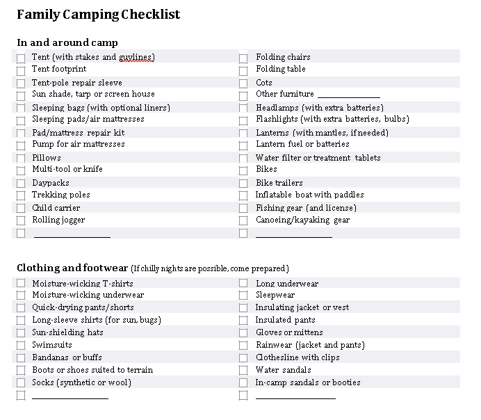 Family Vaction Camping Checklist