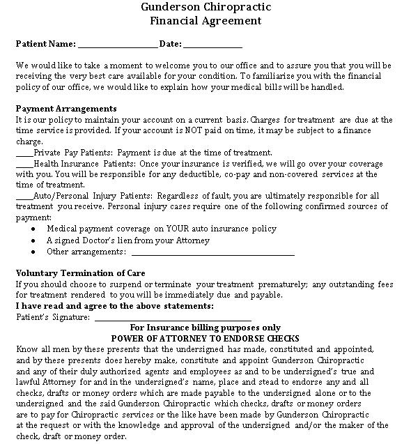 Financial Agreement Cash Payment