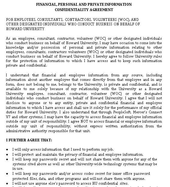 Financial Confidentiality Agreement Template