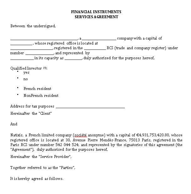 Financial Instruments Services Agreement