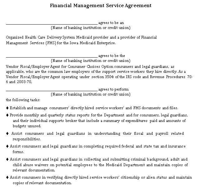 Financial Management Service Agreement