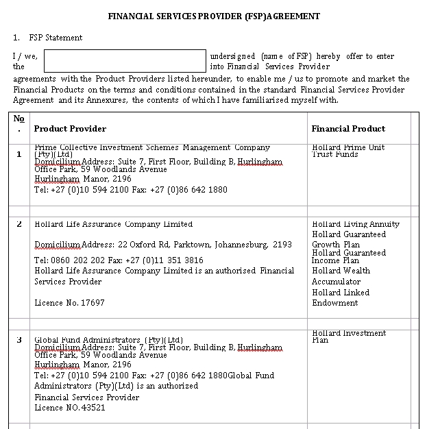 Financial Services Provider Agreement