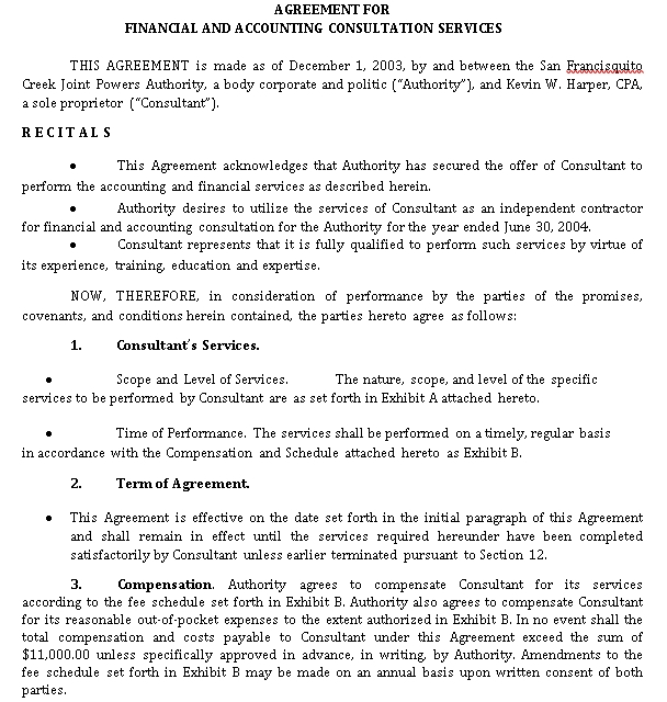Financial and Accounting Consultation Services Agreement