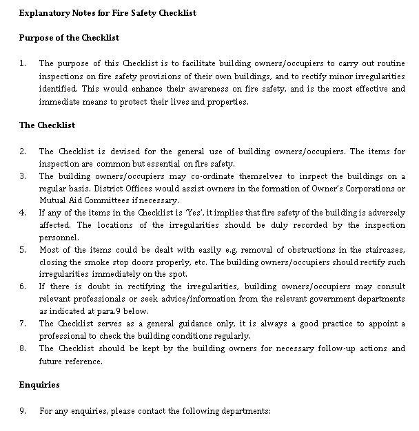 Fire Safety Checklist