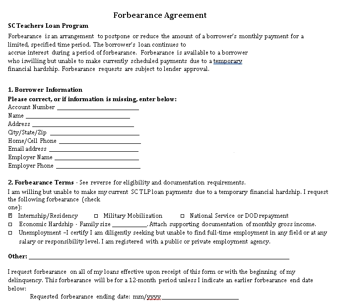 Forbearance Agreement Example