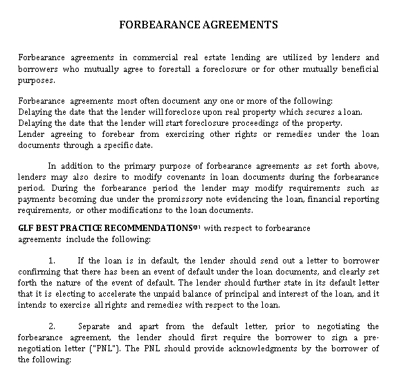 Forbearance Agreement in PDF