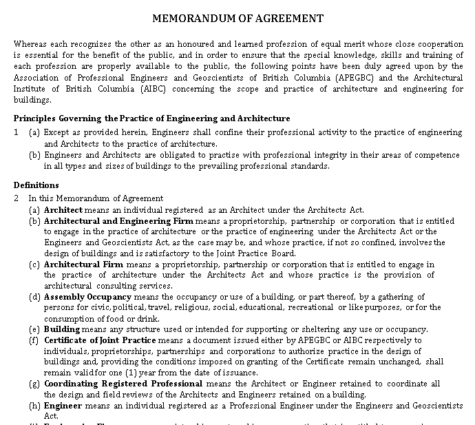 Formal Memorandum Agreement for Engineers