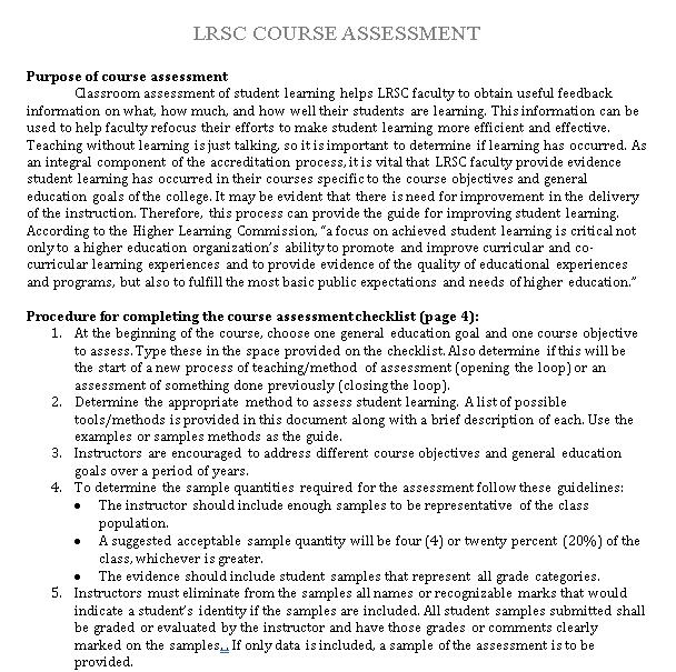 FullAssessment Checklist