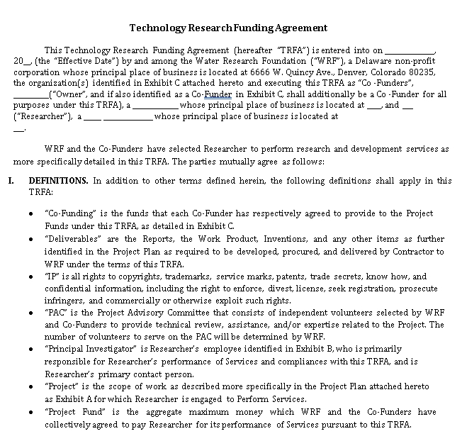 Funding Agreement Example