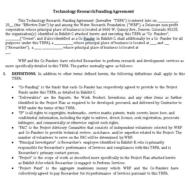 Funding Agreement Example