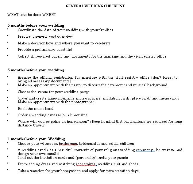 General Wedding Checklist 1