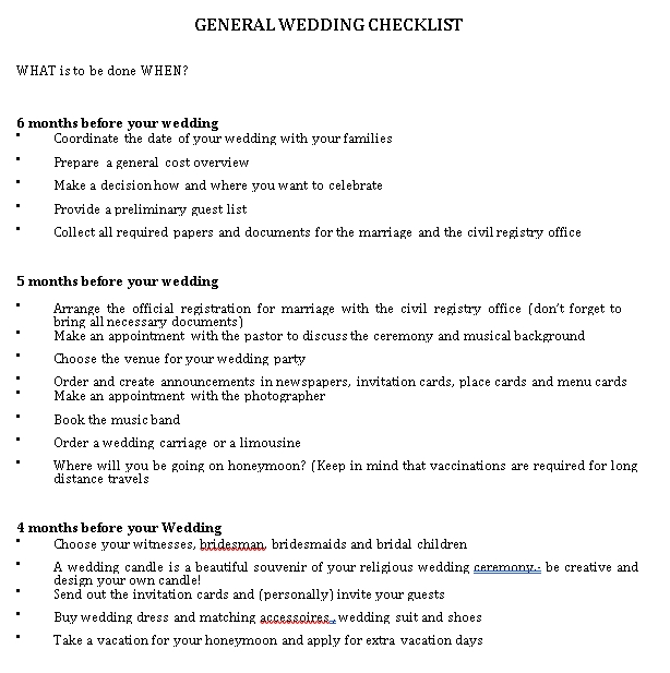 General Wedding Checklist