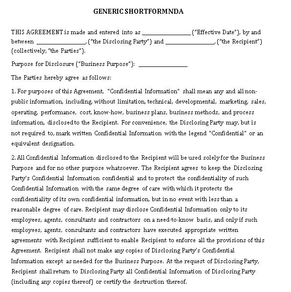 Generic Non Disclosure Agreement