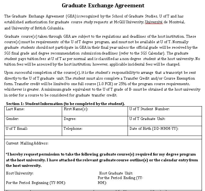Graduate Exchange Agreement