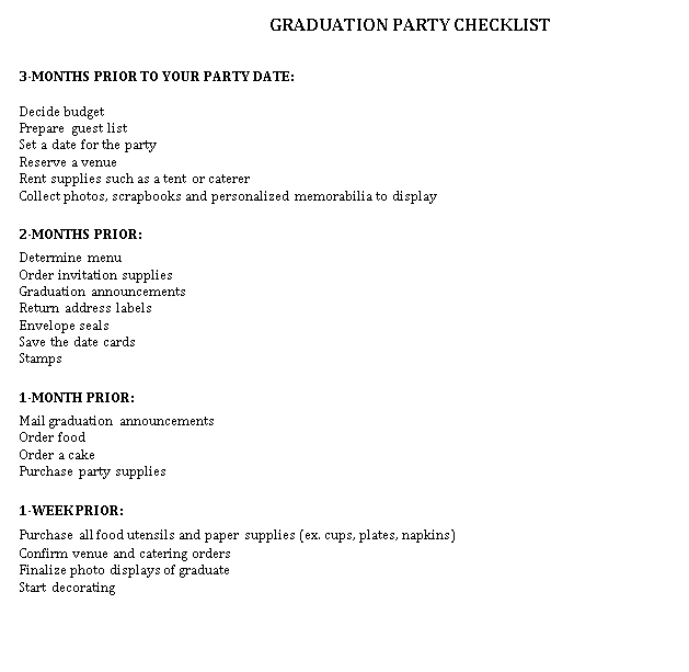 Graduation Party Checklist Template