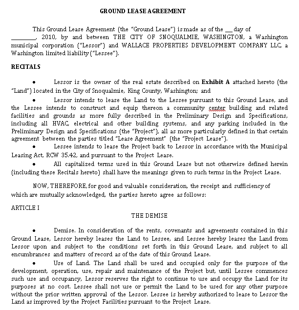 Ground Land Rental Lease Agreement Template