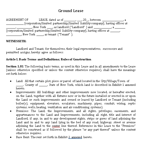 Ground Lease form