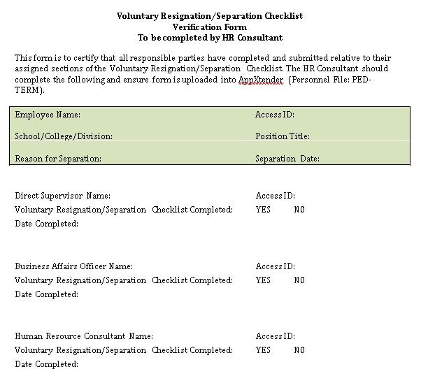 HR Resignation Checklist Template