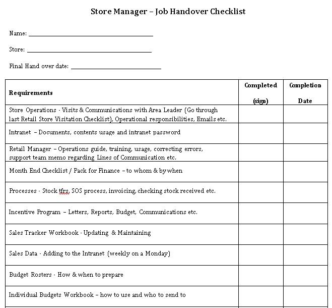 Handover Resignation Checklist Template