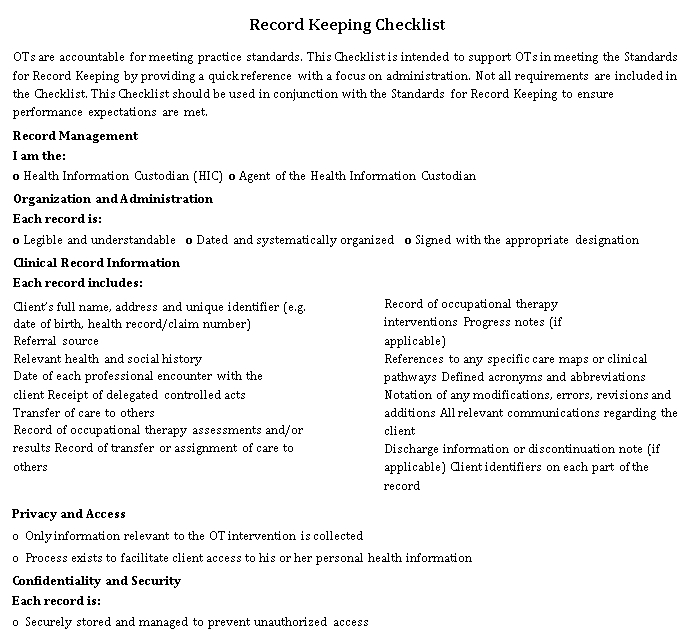 Health Sector Record Keeping Checklist Template