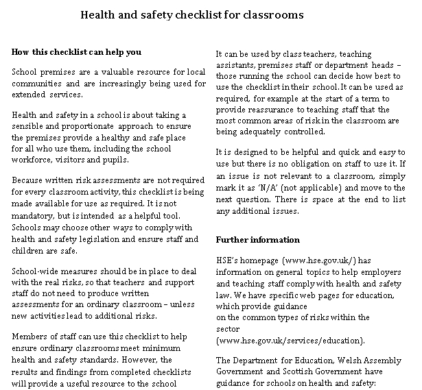Health and safety checklist for Classroom