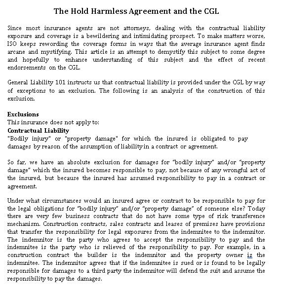 Hold Harmless Agreement and the CGL
