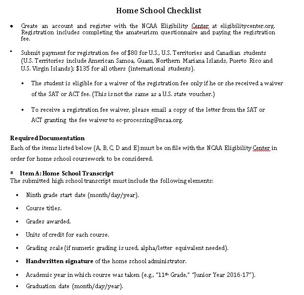 Home School Checklist