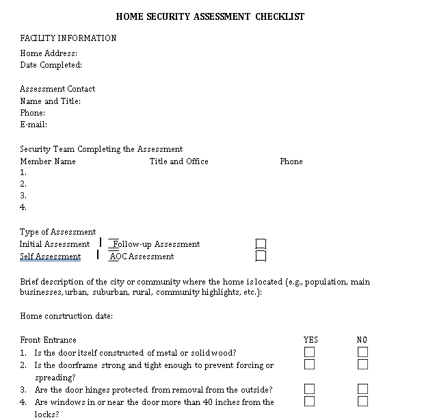 Home Security Assessment Checklist