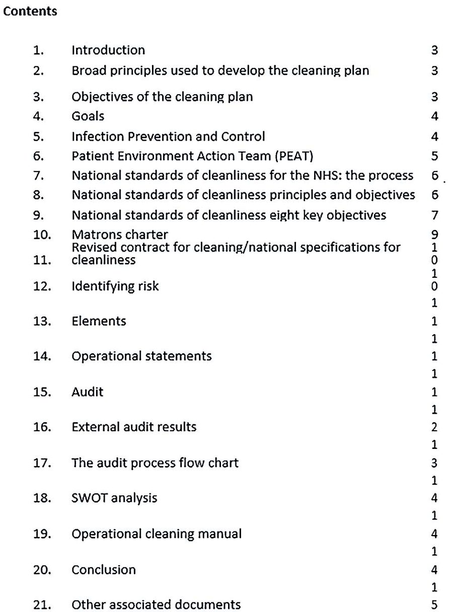 Hospital Cleaning Operational Plan
