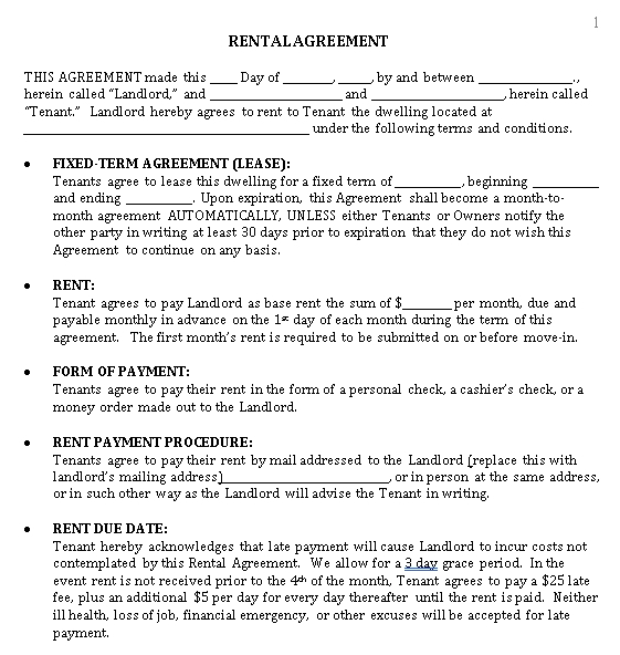 House Rental Lease Agreement Format