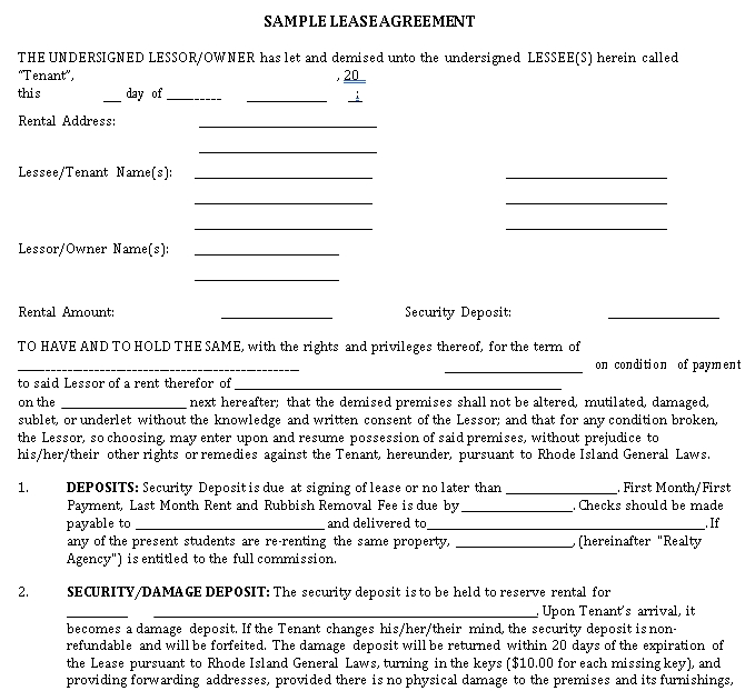 House Rental Lease Agreement in PDF