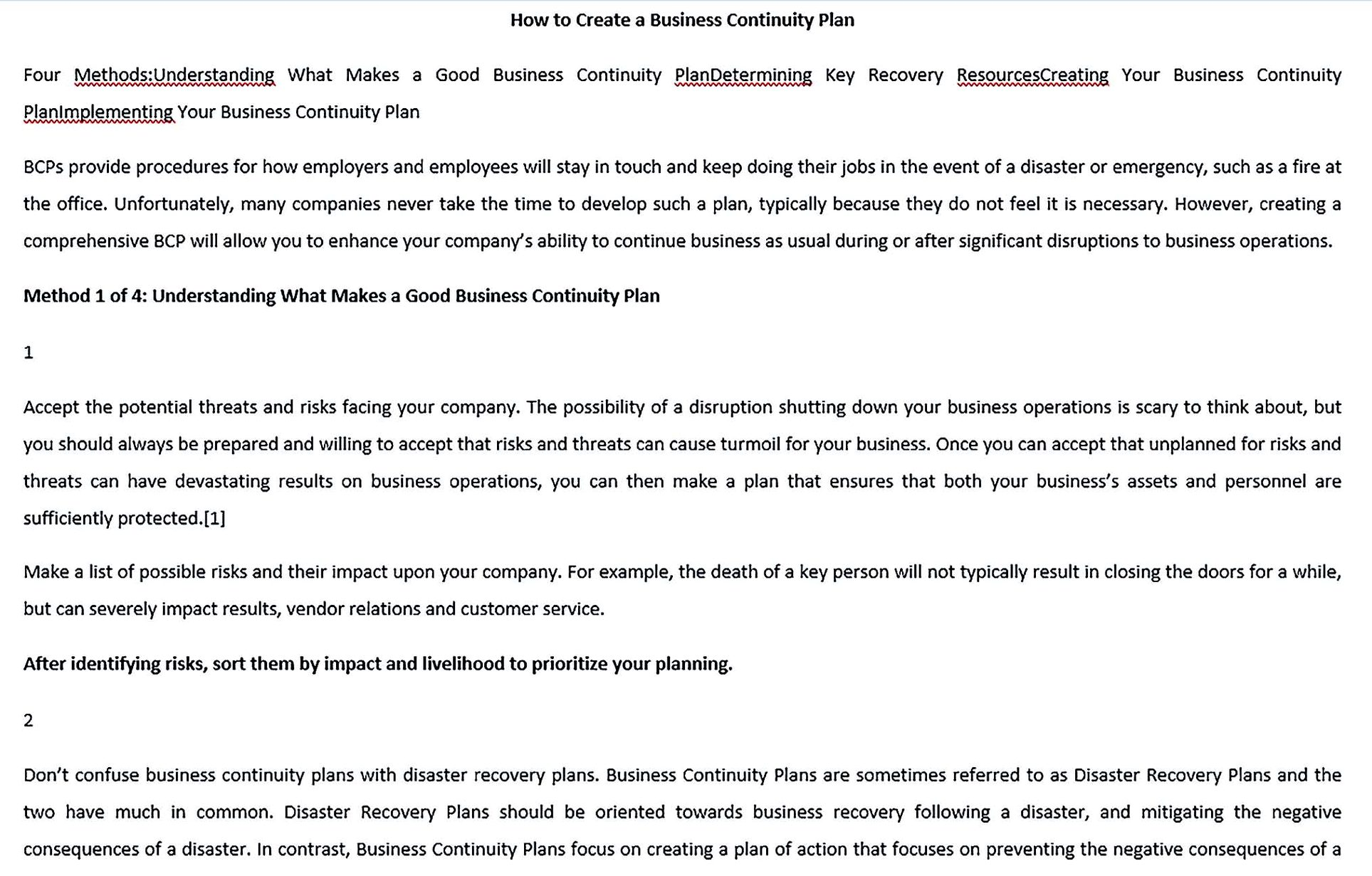 How To Write Business Continuity Plan Template