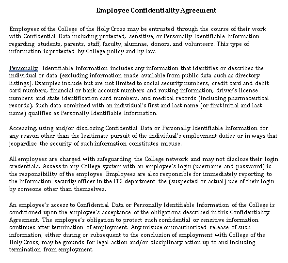 Human Resources Confidentiality Agreement for Employee