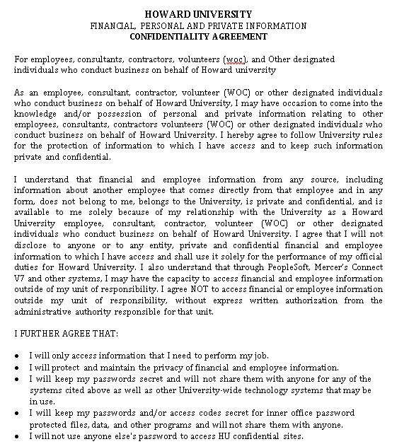 Human Resources Confidentiality Agreement for the Company