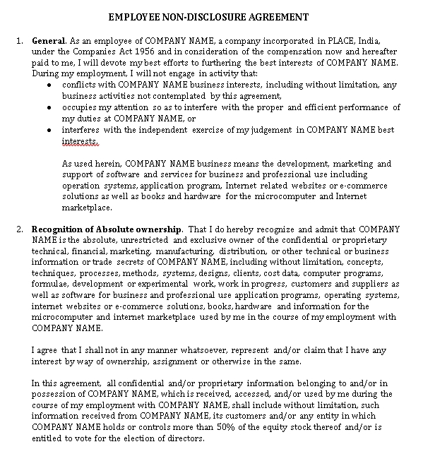 Human Resources Confidentiality Agreement from the Company