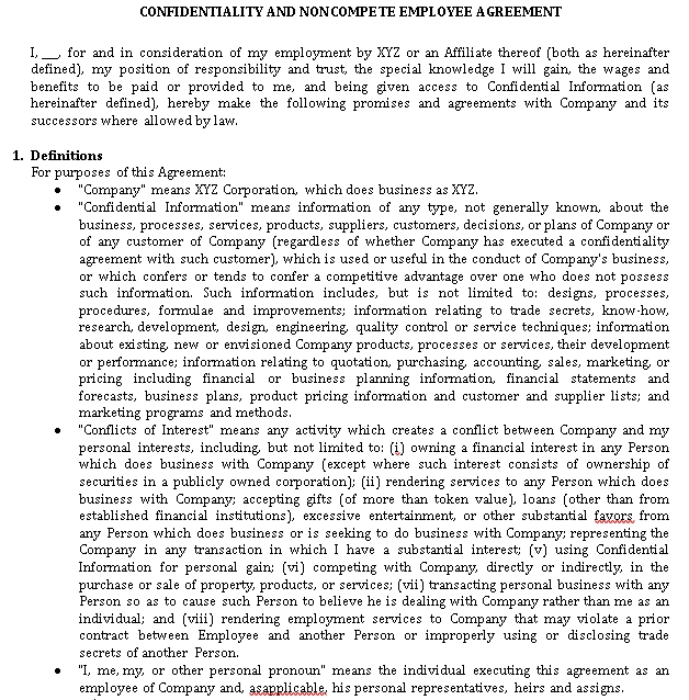 Human Resources Employee Confidentiality Agreement