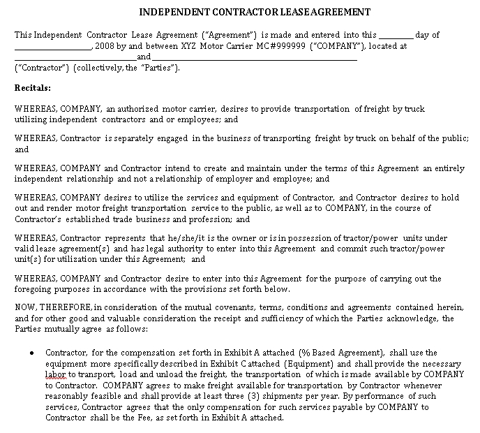 Independent Contractor Driver Agreement