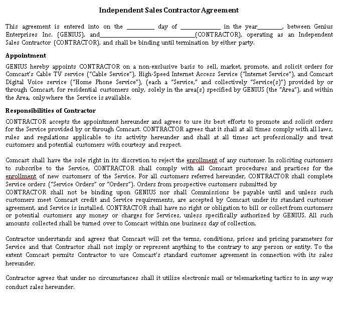 Independent Sales Contractor Agreement