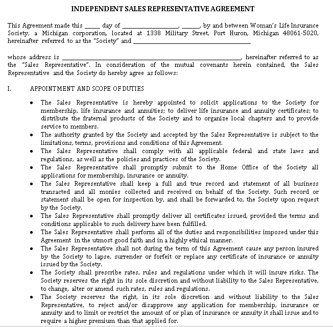 Independent Sales Rep Contractor Agreement