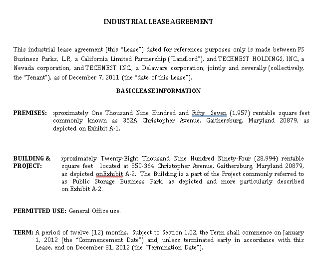 Industrial Land Lease Agreement Template