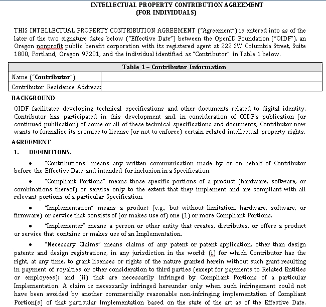Intellectual Property Contribution Agreement in PDF
