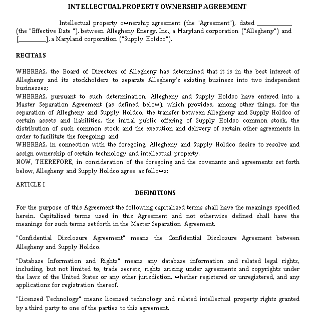 Intellectual Property Ownership Agreement