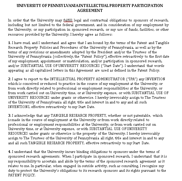 Intellectual Property Participation Agreement Template