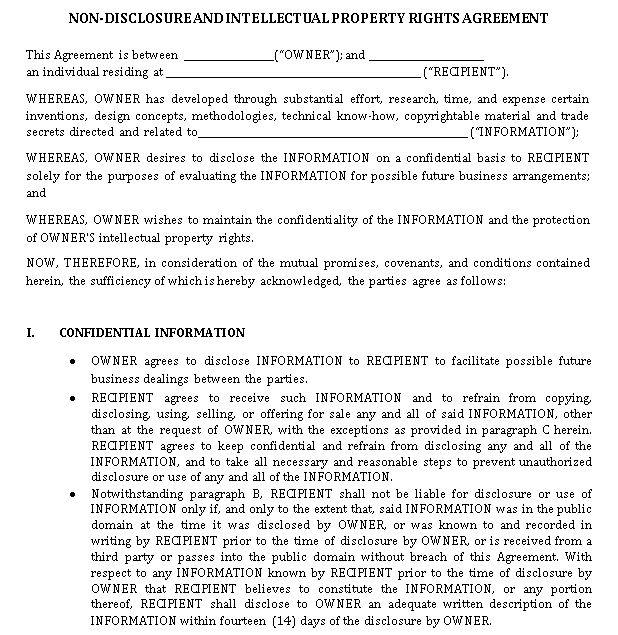 Intellectual Property Rights Agreement in PDF