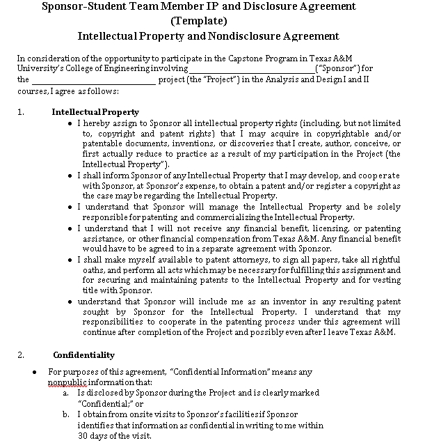 Intellectual Property and Nondisclosure Agreement