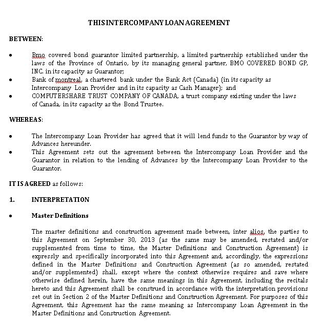 Inter Company Loan Agreement