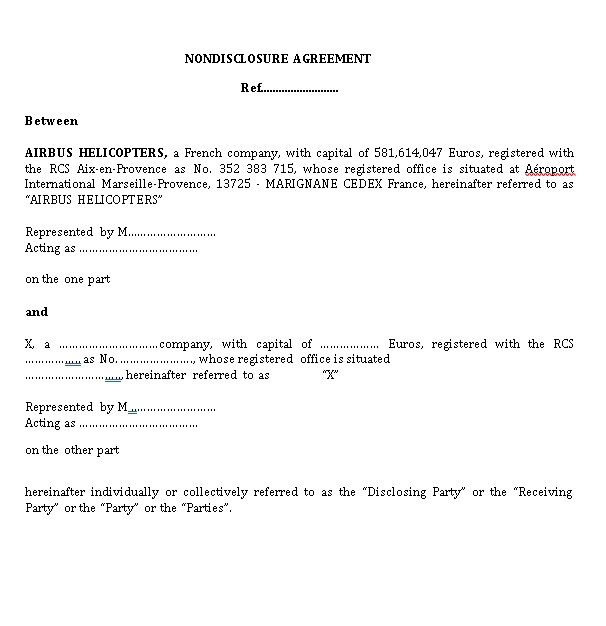 International Non Disclosure Agreement Form